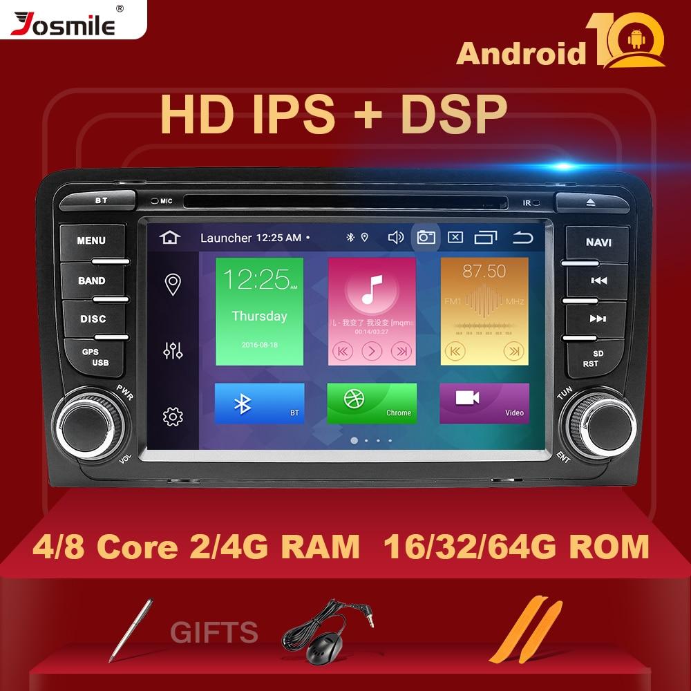 Ips kit multimídia automotivo, 2din, android 10, dvd player, rádio, para audi a3, 8p, s3, 2003-2012, rs3, sportback, multimídia unidade de cabeça estéreo de navegação dsp4gb