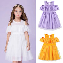 Toddler Kids Baby Girls Casual Tulle Princess Dress Sundress Outfits Clothes Short Sleeve O-Neck Fashion Baby Girls Dress(China)