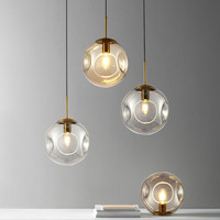 Nordic Simple Ball Glass Hanging Lamp Lustre Pendant Lights Modern Living Room Dining Room Bedroom Suction Industrial Lighting