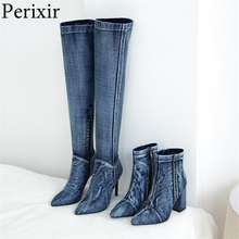 2019 New Denim Ankle Boots Sexy Pointed Toe Spring/Autumn Boots Comfort Female F