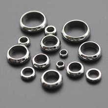 20pcs Stainless Steel Big Hole Spacer Ring European Beads fit 2/2.5/3/4/5/6/8mm Leather Cord Bracelet DIY Jewelry Making Z417