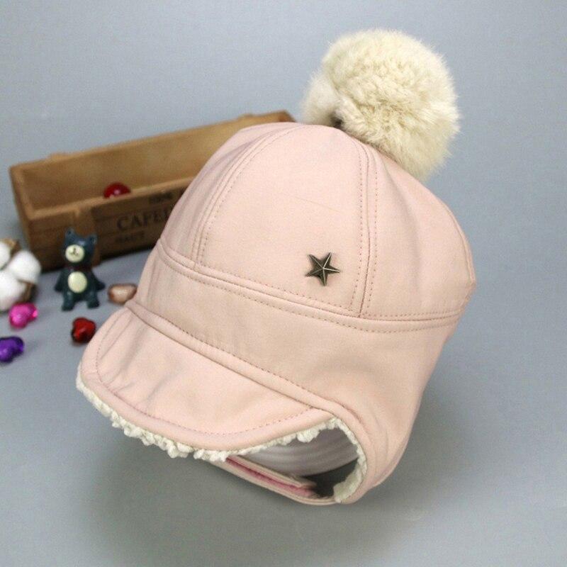 Маска для лица для мальчиков и девочек; шапка-ушанка с помпоном; милая детская зимняя бархатная утолщенная теплая ветрозащитная плюшевая шапка - Цвет: Розовый