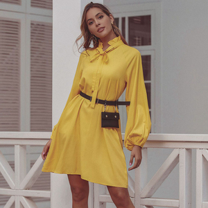 Image 3 - JYSS new trendy spring yellow dress women big long sleeve knee length dresses girl ropa mujer dress streetwear frocks 50168
