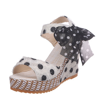 Ins new sweet polka dot leisure women wedges shoes 2020 summer sandals woman casual date party platform high heels shoes woman