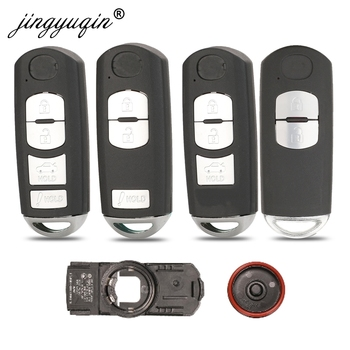 jingyuqin Smart Remote Key Shell Case 2/3/4 Button Fit For Mazda X-5 Summit M3 M6 Axela Atenza With Emergency Key Blade