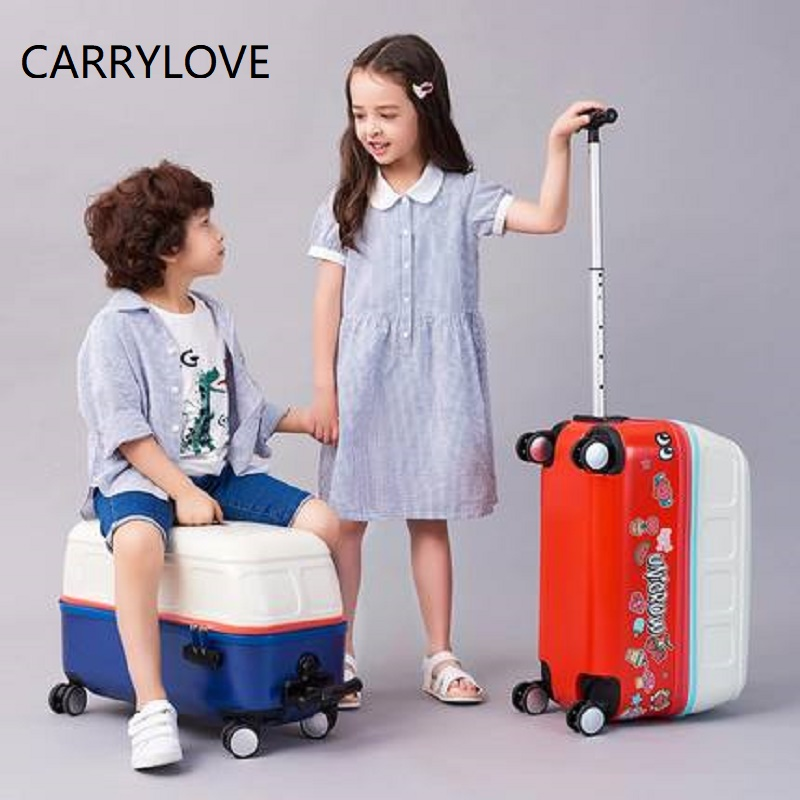 CARRYLOVE Simple Cartoon For Children Can Ride High Quality Rolling Luggage Spinner Brand Travel Suitcase