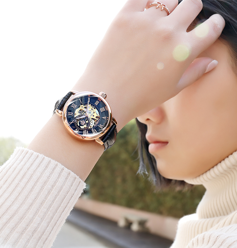Reloj Mujer Montre Femme 2019 Silver Women's Dress Watches Ladies Stainless Steel Strap Skeleton Automatic Mechanical Watches
