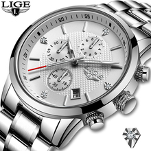 2020 LIGE New Watches Men Luxury Brand Chronograph Men Sport Watches Waterproof Full Steel Quartz Men's Watch Relogio Masculino