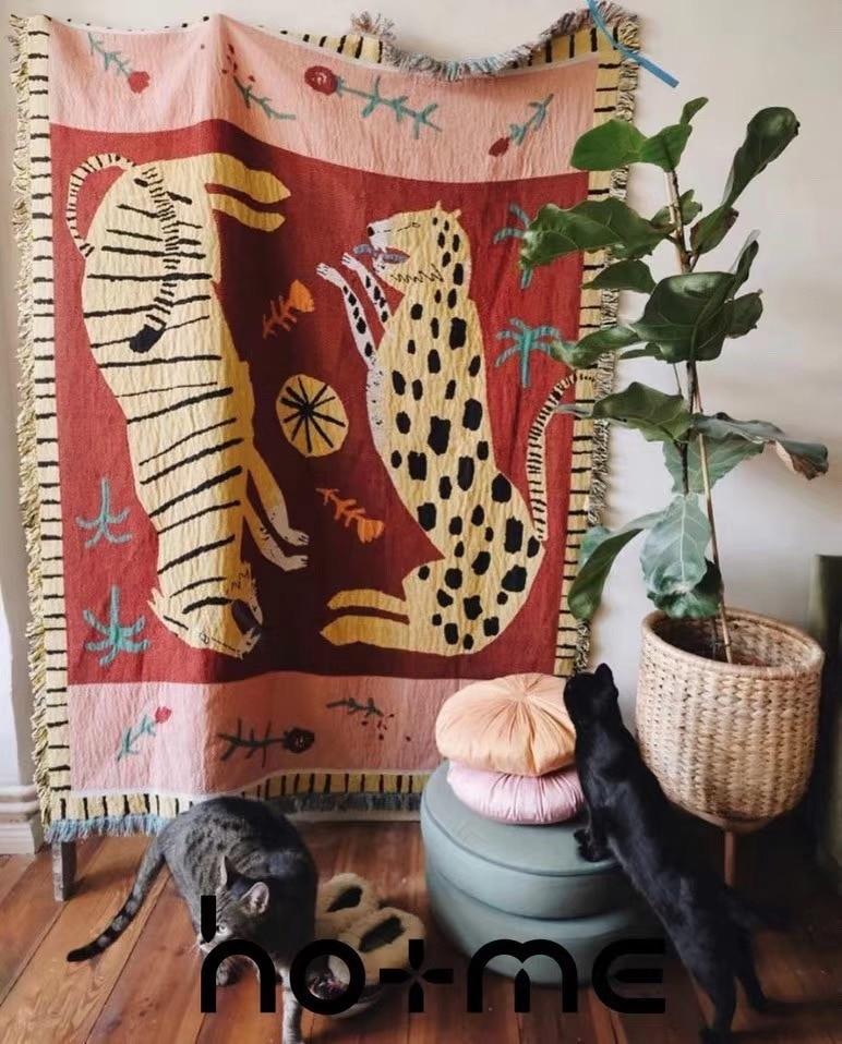 Casual Blankets Carpet Decoration pink panther Carpet Sofa Leisure Carpet Original Single Tapestry Sofa MatTapestry   -