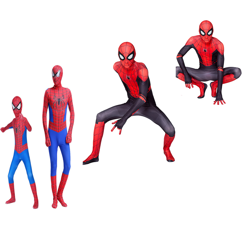 High Quality spider boy Costume Fancy Dress Adult And kid man Halloween Costume Red Black man Spandex 3D Cosplay Clothing 3