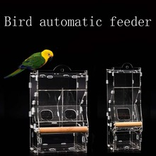 Pet Bird Automatic Feeding Transparent Feeder Acrylic New Anti-sprinkle Hangable Parrot Food Containers
