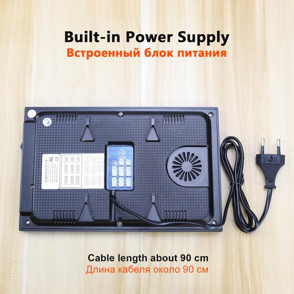 7 дюймов видео телефон двери встроенный блок питания вызывное устройство с дверным звонком с ИК CCTV Камера и электлонные замки Поддержка дис... - 2