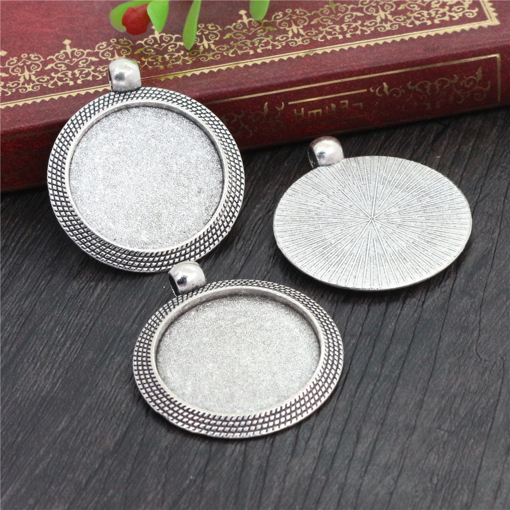 New Fashion  5pcs 25mm Inner Size Antique Silver Colors Cool Style Cabochon Base Setting Charms Pendant (A3-03)