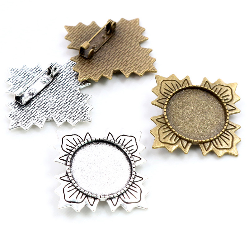 5pcs 20mm Inner Size Antique Silver Plated Bronze Brooch Pin Fashion Style Cabochon Base Setting