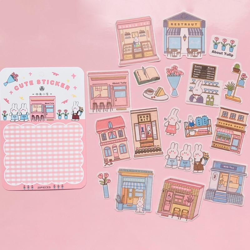 20pcs Kawaii Rabbit Life House DIY Decorative Stickers Album Decoration Stickers