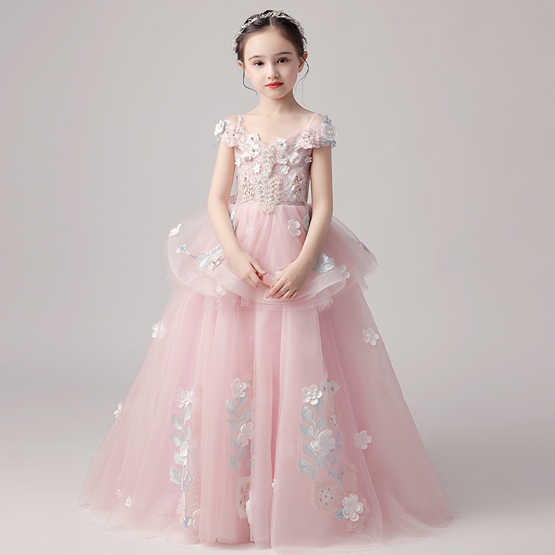 Girl'S Gown Catwalks Flower Boys/Flower Girls Tailing Princess Dress Puffy Yarn Small Host Piano Costume CHILDREN'S Wedding Dres