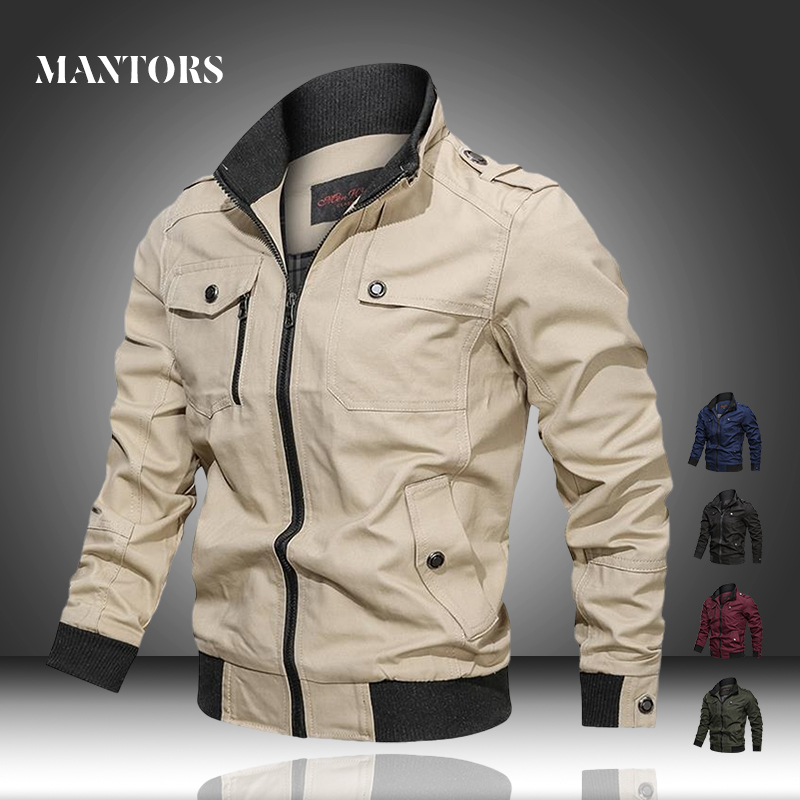 Men Military Jacket 2020 Spring Casual Bomber Pilot Jackets Male Solid Fitness Zipper Tactical Coats Outerwear Cargo Windbreaker