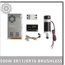DC 500W/0.5KW ER11/ER16 Brushless Spindle Motor+55MM Clamp with Screws+20-50VDC Stepper Motor Driver+48VDC 12A Power Supply.