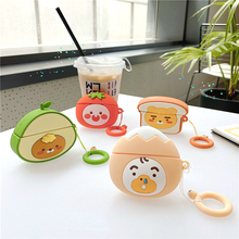 Case for AirPods Pro Cartoon Earphone Case for Apple Air Pods Pro Cute Accessories Protect Cover with Keychain 3D Avocado Peach 3d lucky rat cartoon bluetooth earphone case for airpods pro cute accessories protective cover for apple air pods 3 silicone