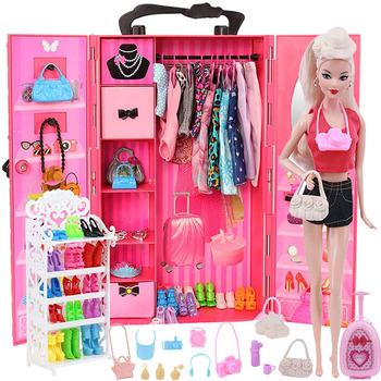 Barbie ubrania akcesoria domek dla lalek 1 6 dla 30Cm Barbie meble szafa mieszanie wielu akcesoriów łóżko zabawka lalka Barbie tanie i dobre opinie 25-36m 4-6y 7-12y 12 + y CN (pochodzenie) Free shipping Dziewczyny Styl życia Fit for 11 5 in -12 in (30 cm) doll Not Include Doll