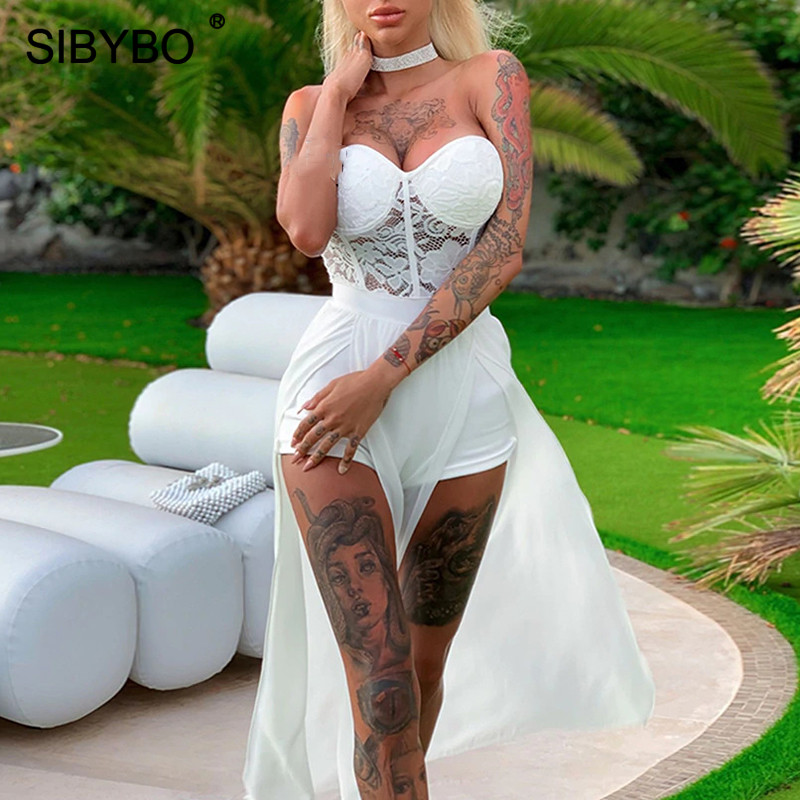 SIBYBO Lace Patchwork Strapless Sexy Jumpsuit Women Off Shoulder Push Up Summer Women Rompers Backless Casual Overalls For Women
