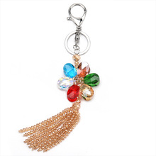 The new creative fashion crystal glass woven flower shape key lady handbags accessories