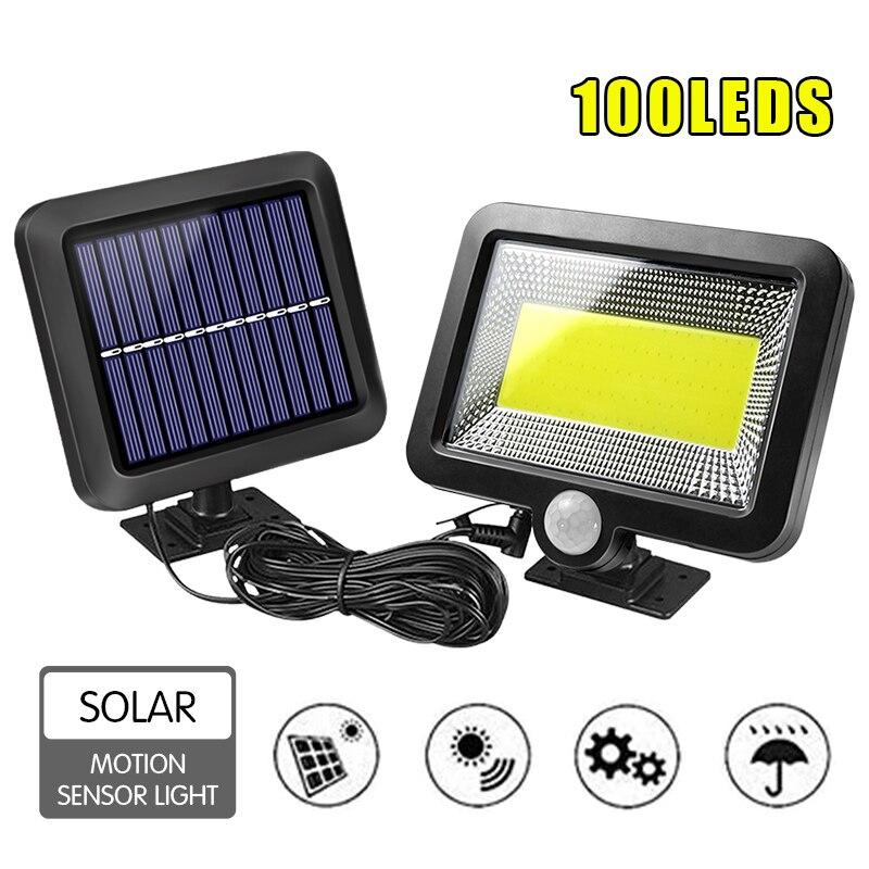 100 LEDs Solar Lamp IP65 Waterproof Sun Power Wall Lights PIR Motion Sensor Outdoor Emergency Light For Garden Industrial Garage