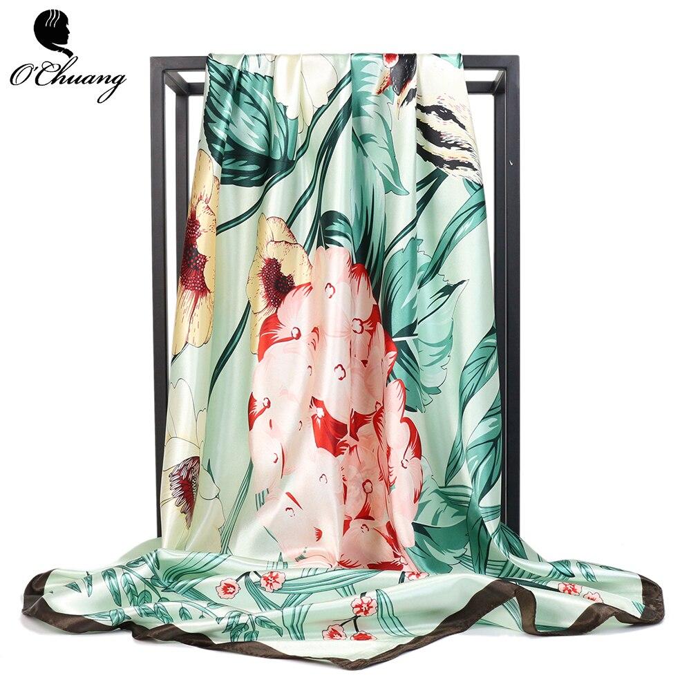 Womens Floral Scarf Colorful Silk Scarves Women Print Foulard Satin Square Head Hijab Scarfs Luxury Brand Shawl 90cm Bandana