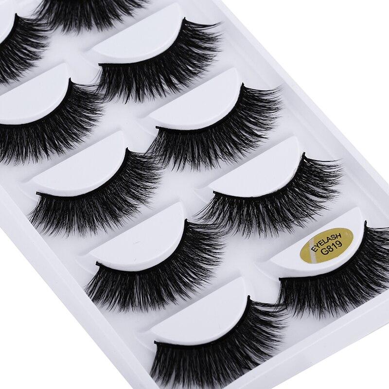 5 Pairs 3D Mink Eyelashes Natural False Eyelashes Faux Cils Maquillaje Long Lashes Soft Fake Eyelashes Extension Makeup Cosmetic
