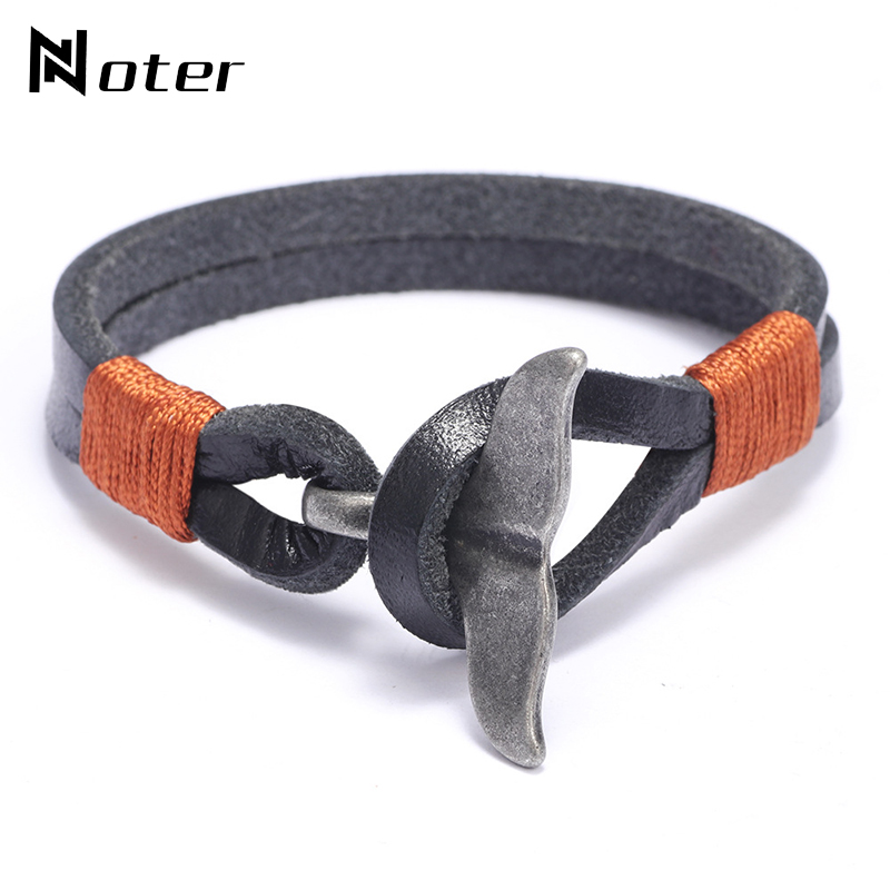 Noter Men Leather Bracelet Creative Vintage Whale Tail Design Punk Brazalete For Hombre Camping Jewelry Accessories Pulseira