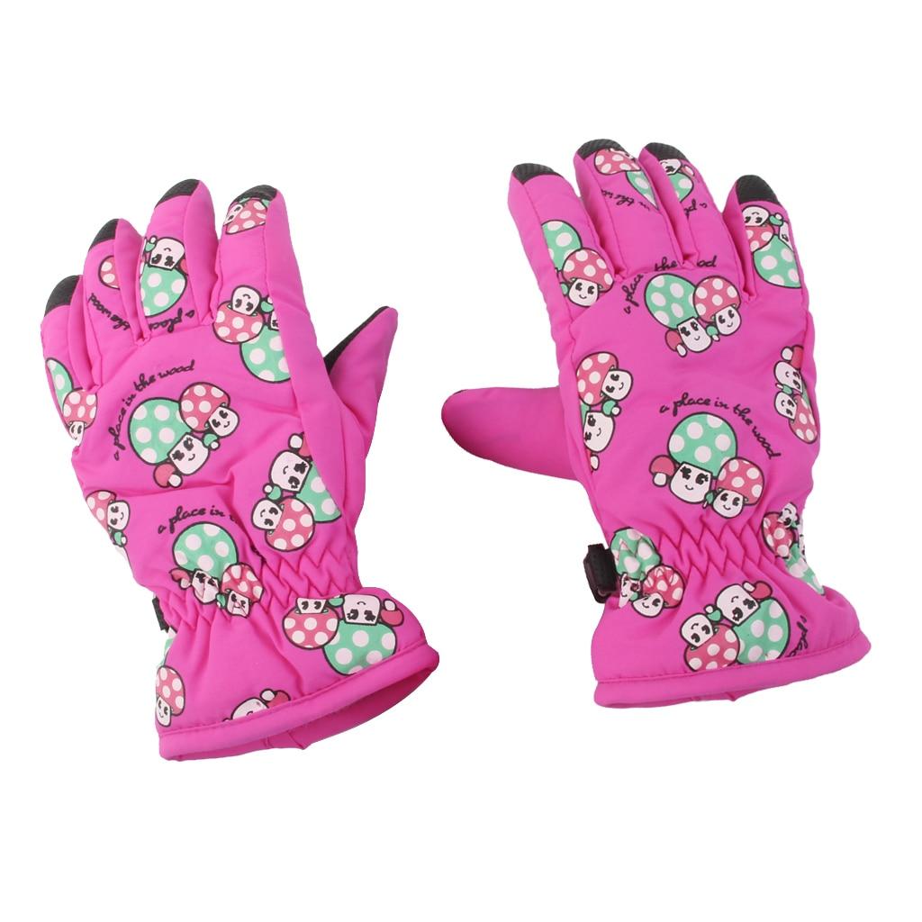 2x Kids Boy Girls Winter Thermal Fleece Warm Ski Snow Cycling Mitts Gloves 2-4 Yrs Pink Skiing Gloves