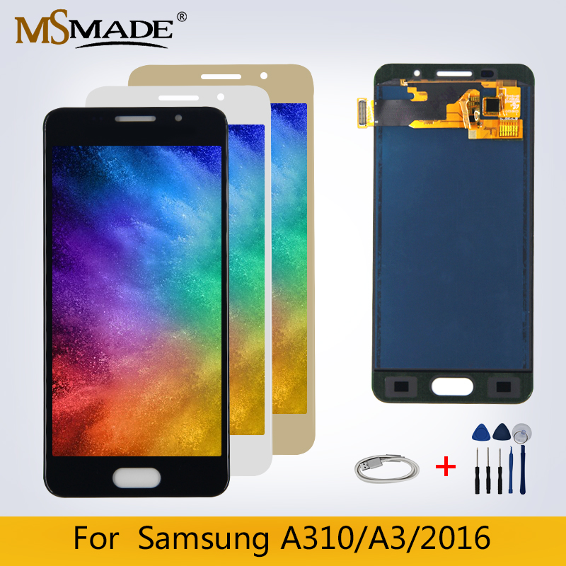 A310 LCD For <font><b>Samsung</b></font> Galaxy A3 2016 <font><b>A310F</b></font> LCD A310H A310M <font><b>Display</b></font> LCD Touch <font><b>Screen</b></font> Digitizer Replacement Parts Free Shipping image