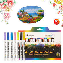 12/18/24/36 Colors Acrylic Paint Marker pen Permanent Art Marker Pen for Ceramic Rock Glass Porcelain Mug Fabric Canvas Painting