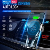 ROCK Intelligent Infrared Sensor Qi Car Wireless Charger for iPhone XS XR 8 Plus Phone Holder for Samsung S10 S9 Plus Note 9