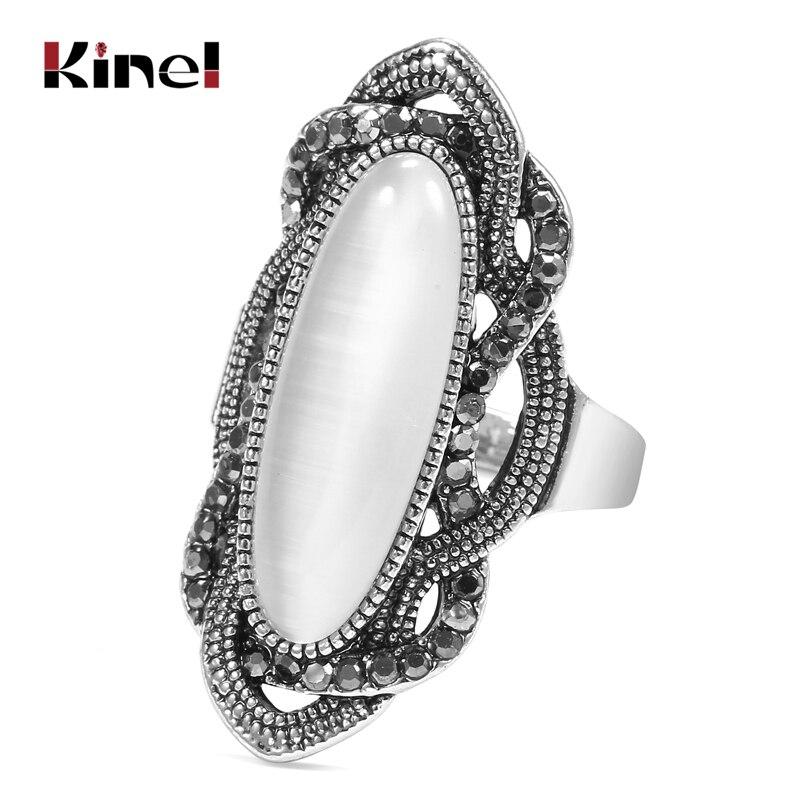 Anillo de ópalo blanco estilo bohemio de alta calidad Kinel grande mosaico plateado plata Oval AAA anillos de cristal gris para mujer joyería Vintage