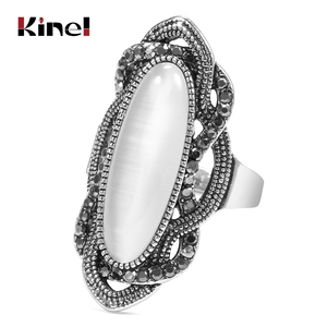 Kinel Top Quality Bohemian Style White Opal Ring Big Oval Silver Plated Mosaic AAA Gray Crystal Rings For Women Vintage Jewelry(China)