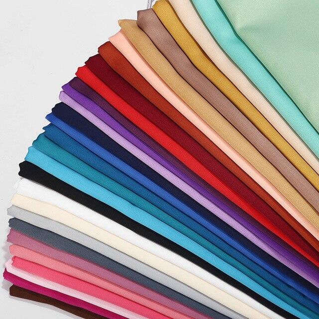 קידום מכירה! חלק מט צבע סאטן צעיף ארוך צעיף רגיל מוצק צבע משי מרגיש בגימור נשים חיג אב מוסלמי צעיפים לעטוף