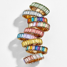fashion rainbow design ring thin line color high quality zircon spiral eternal 9 chain women girls charm jewelry gift