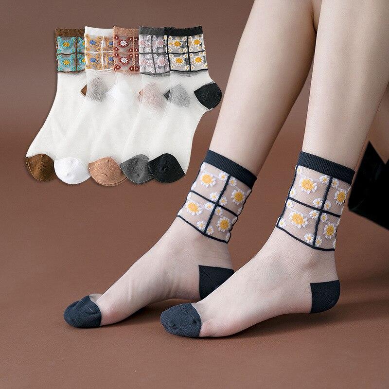 Best Girl Sheer Socks Women Small Daisy Retro Mori Crew Socks Japanese Black White Cute Sheer Mesh Lace Floral Socks Transparent