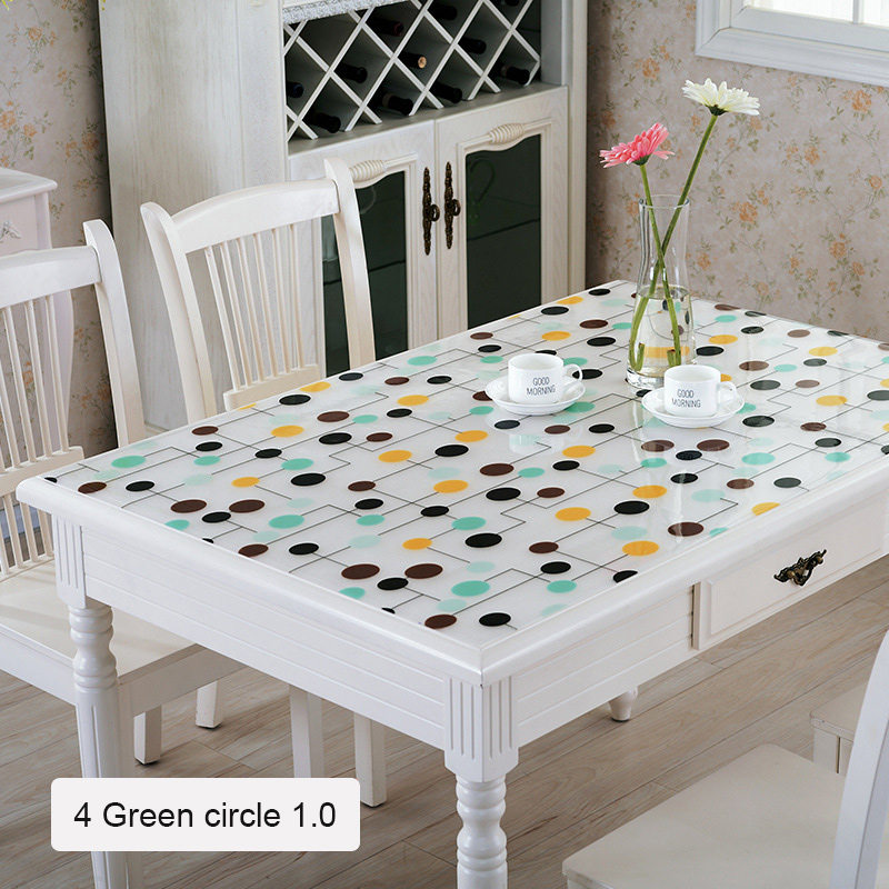 1mm Soft Glass PVC Tablecloth For Rectangular Table Kitchen DecorationTablecloth Waterproof Oilproof Kitchen Dining Table Cover