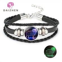 Мужской кожаный браслет светящийся с 12 знаками Зодиака для