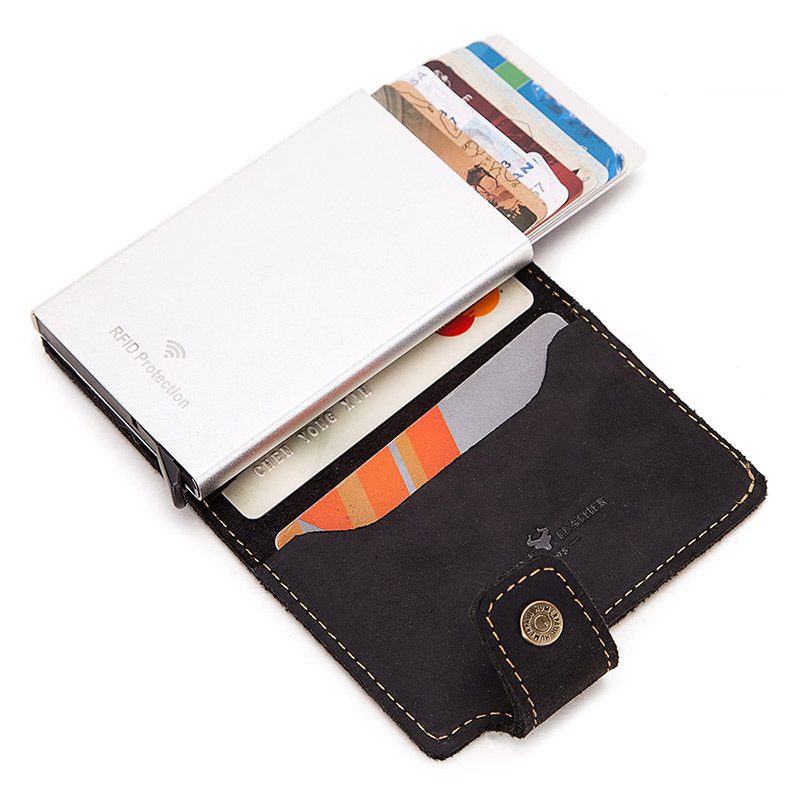 Rfid Blocking  Men Credit Card Holder Fashion Automatic Business ID Card Case Aluminum Anti-Degaussing Anti-Theft Wallet 2020