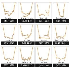 Золотой цвет зодиака Геометрическая подвеска с кристаллом Цирконом ожерелье небесные ювелирные изделия лучший друг подарок созвездие оже...