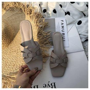 Big Size 41 Women Slippers Casual Open Toe Metal Decoration Flat Slippers Summer Slides Platform Beach Flip Flops sandalias muje - Beige, 9.5