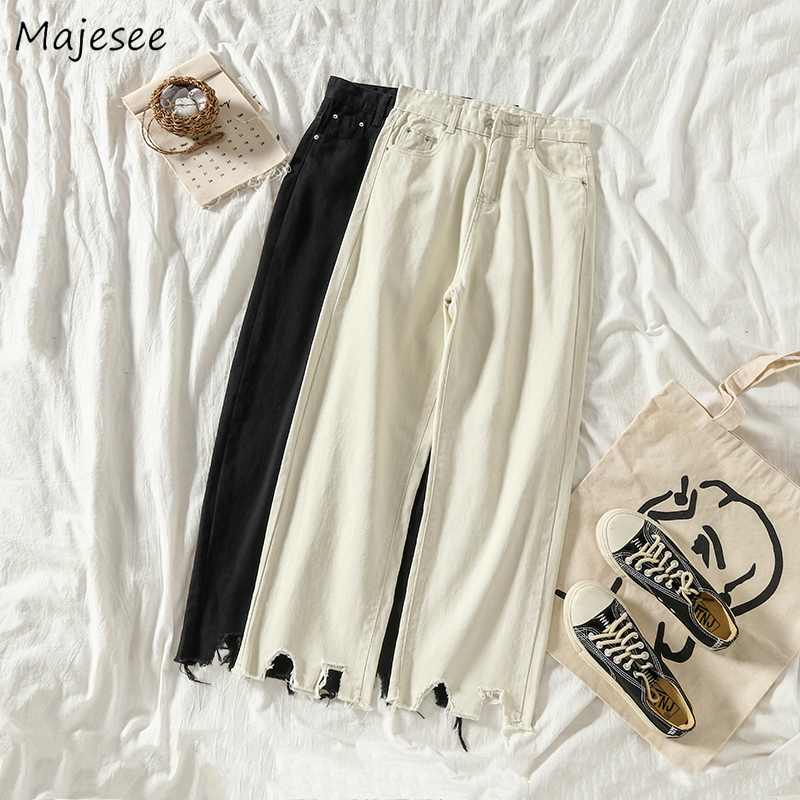 Jeans Women Solid Ankle-length Denim High Waist Harajuku Loose BF All-match Causal Irregular Hem Simple Womens Trousers Student