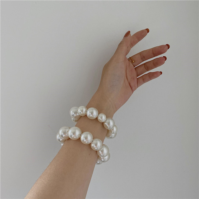 Ruoshui Woman Big Pearl Hair Ties Fashion Korean Style Hairband Scrunchies Girls Ponytail Holders Rubber Band Hair Accessories 5