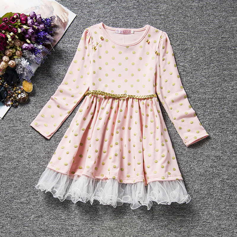 Winter Long Sleeves Girls Dress Birthday Flower Design Princess Lace Tutu Dresses Kids Casual Wear Children Daily Home Clothing