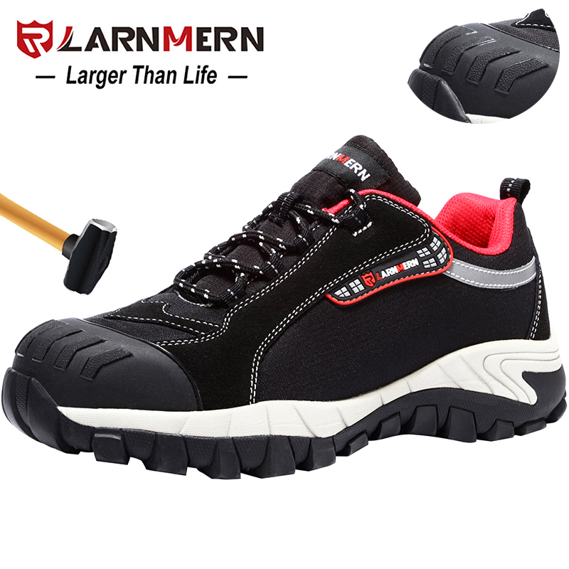 LARNMERN Mens Work Shoes Steel Toe Safety Shoes Comfortable Lightweight Anti-smashing Non-slip Construction Protective Footwear