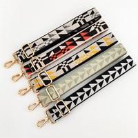 Correa de bolso con patrones geométricos para mujer, colgador de bolso de hombro, cinturón de colores, accesorios de correa, asas de correas de bolso ajustables
