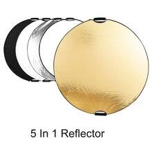 80 110cm 5 en 1 Reflector de luz fotografía difusor mano Multi plegable portátil disco redondo Reflector para el estudio de la foto